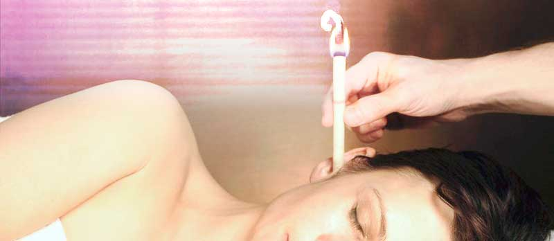 Photo of ear candling client at Body in Balance